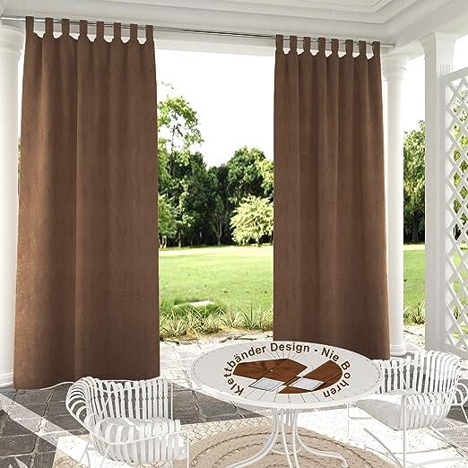 132x245cm marrón Cortinas para Exteriores de Velcro, Resistentes al Viento, Resistentes al Agua, Resistentes a la harina, para jardín, balcón, casa de Playa, vestíbulo, Cabana: Amazon.es: Jardín
