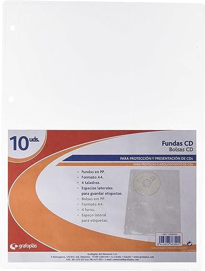 Grafoplás 13630000. Pack de 10 Fundas multitaladro para CD A4, Polipropileno, Transparente: Amazon.es: Oficina y papelería