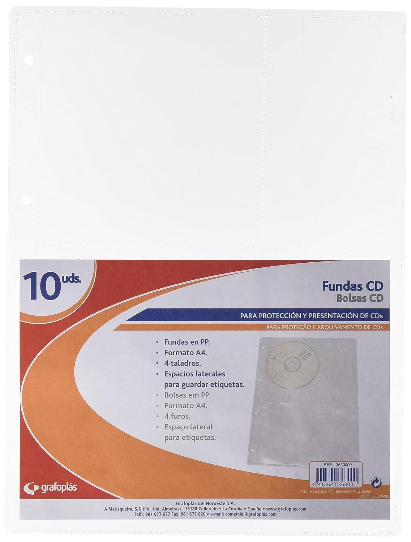 Grafoplás 13630000. Pack de 10 Fundas multitaladro para CD ...