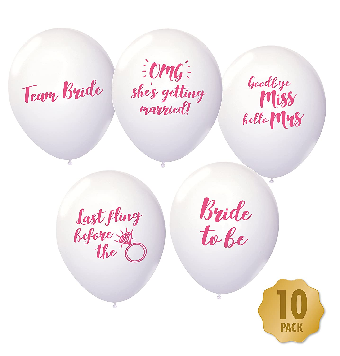 Hen Party Balloons - Pack Of 10 Mixed White & Pink Funny Classy ...