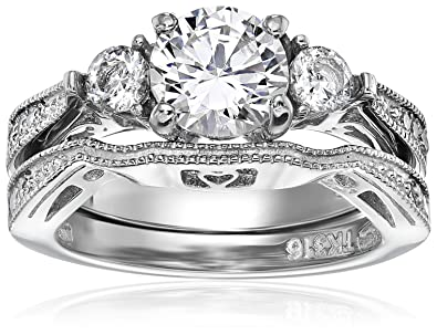 a58e56beb8ea ラウンドキュービックジルコニアレディースウェディングリングセットステンレススチール花嫁婚約指輪サイズ5 – 11
