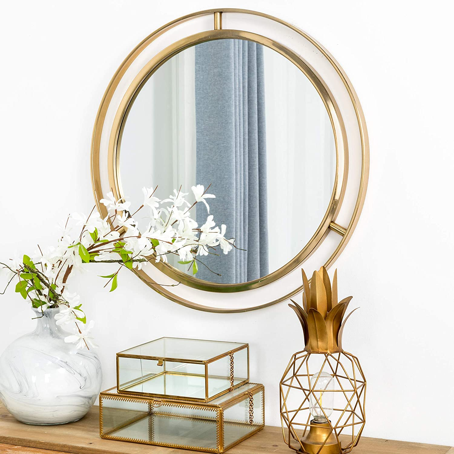 "Glitzhome 24"" Decorative Wall Mirrors Modern Deluxe Metal Round Wall Mirror with Golden Circle Ring Frame for Bedroom Bathroom Living Room Entryway"