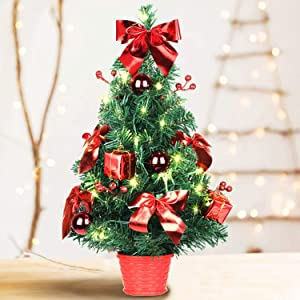 SHareconn Mini Artificial Tabletop Christmas Tree, 20 Inch Xmas Decor Small Tree with Pre-Lights and Red Ornaments Perfect for Table and Desk Tops