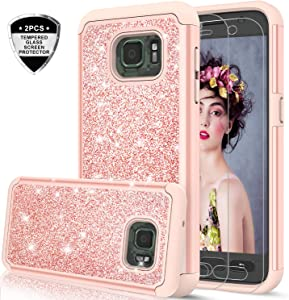 Galaxy S7 Active Case with 2 Pack Tempered Glass Screen Protector, LeYi Glitter Girls Women Dual Layer Heavy Duty Protective Phone Case for Samsung S7 Active SM-G891A TP Rose Gold (Not Fit Galaxy S7)