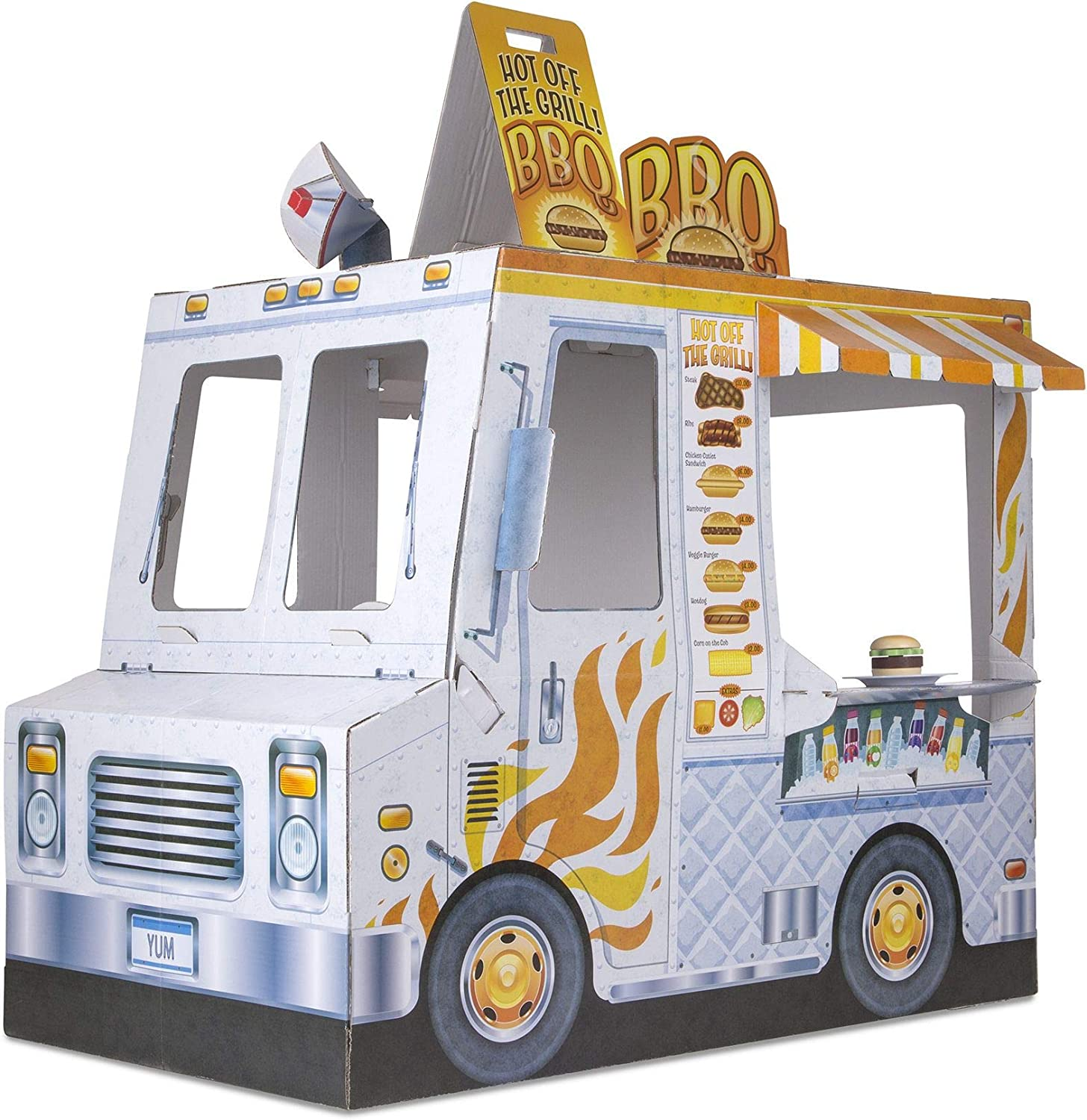 Melissa Doug Food Truck Indoor Playhouse Corrugate Ice Cream And Barbecue Truck Nearly 4 Feet Long Great Gift For Girls And Boys Best For 3 4