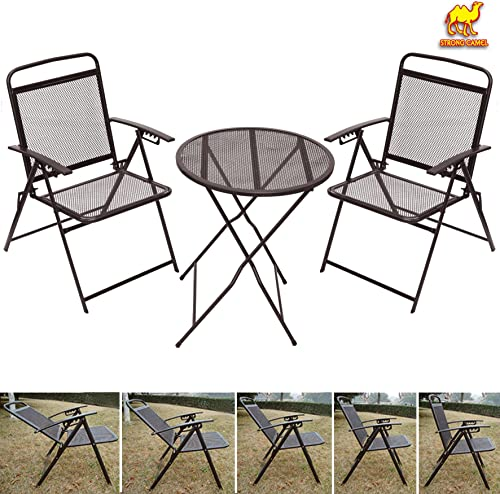 Strong Camel Bistro Set Patio Set Table and Chairs Outdoor Wrought Iron Cafe Set Metal-Coffee
