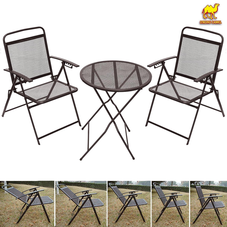 Strong Camelアウトドアパティオテーブルと椅子セットBistroセット錬鉄Cafeセットメタル B0791WF4M5コーヒー