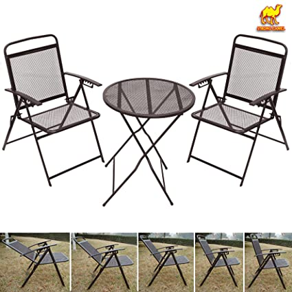 Amazon.com   STRONG CAMEL Bistro set Patio Set Table and Chairs Outdoor  Wrought Iron CAFE set METAL-Coffee   Outdoor And Patio Furniture Sets    Garden   ... 5b9d553163dd