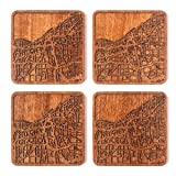 Cleveland Map Coaster, Set of 4, Sapele Wooden