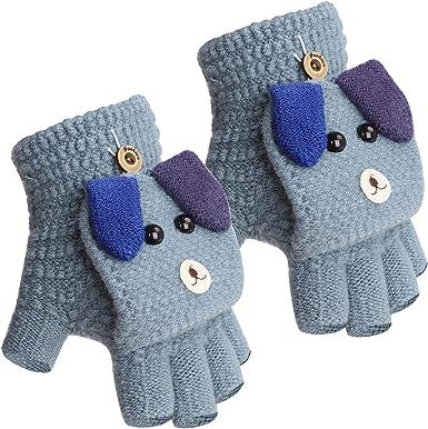 Finger Warm Children Thick Half Finger Flip Cover Kids Gloves Knitting Mittens