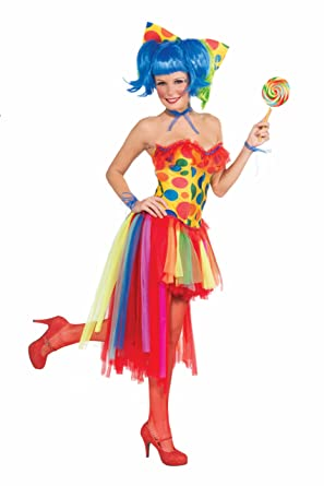 66dde9098c7aa Forum Novelties Women's Circus Sweetie Adult Pippi Polka Dot Clown Costume,  Multi Colored, One