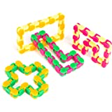 Neliblu Snappy Tracks Snap and Click Fidget Toys For Sensory Kids - Snake Puzzles 4 Pack Assorted Colors