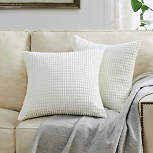 BEBEN Throw Pillow Covers - Set of 2 Pillow Covers 18x18, Decorative Euro Pillow Covers Corn Striped, Soft Corduroy Cushion Case, Home Decor for Couch, Bed, Sofa, Bedroom, Car (Cream White, 18X18)