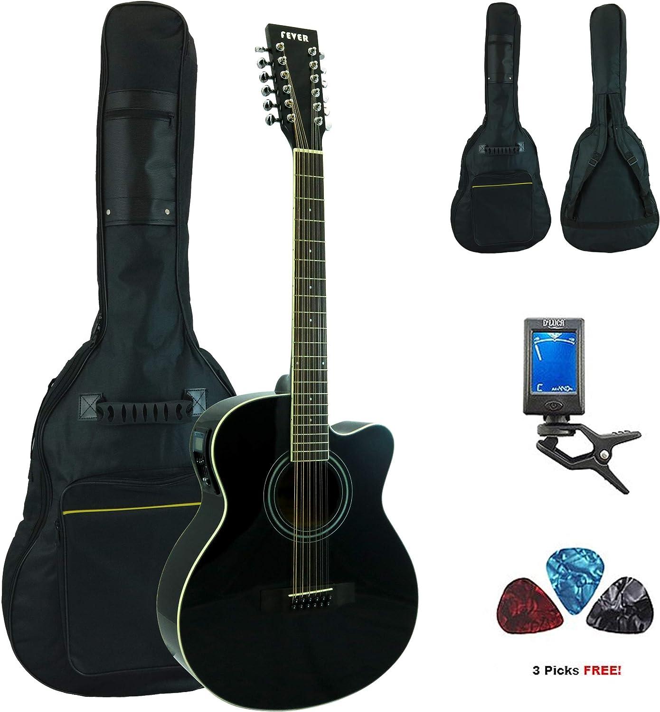 Fiebre acústica de 12 cuerdas para guitarra eléctrica (con funda, afinador y púas, color negro: Amazon.es: Instrumentos musicales