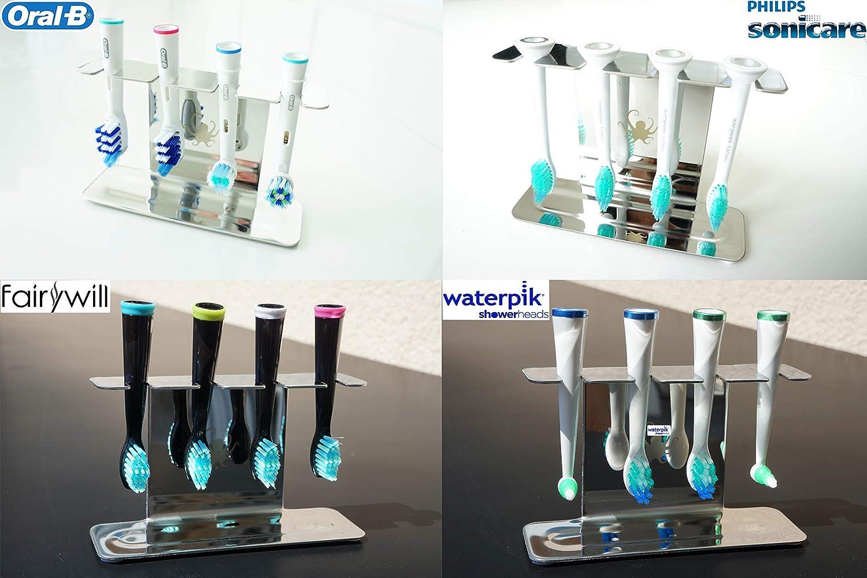 Octopodis - Portacabezales para cepillos de dientes eléctricos, acero inoxidable, compatible con Oral B Braun, Sonicare, Waterpik, fijación por medio de ...