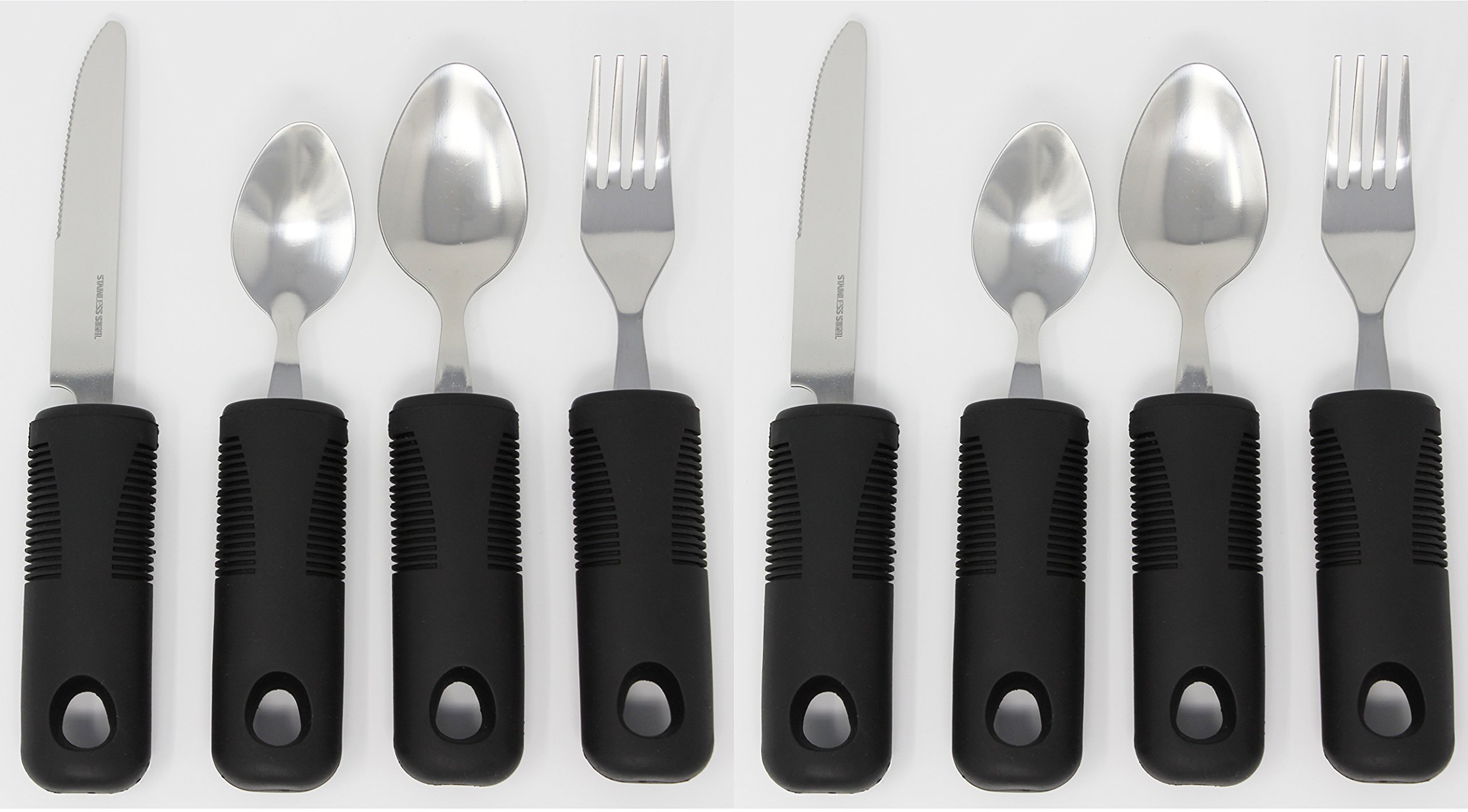 Adaptive Utensils (8-Piece Kitchen Set) Wide, Non-Weighted, Non-Slip Handles for Hand Tremors, Arthritis, Parkinson's Or Elderly use | Stainless Steel Knife, Fork, Spoons (Black - 2 Sets)