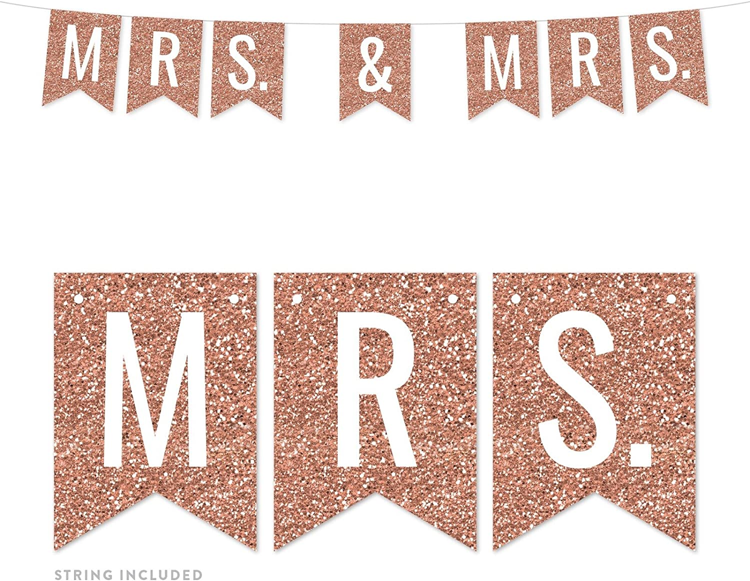 Andaz Press Rose Gold Faux Glitter Background Lesbian Wedding Party Banner Decorations, Mrs. & Mrs, Approx 5-Feet, 1-Set, Champagne Colored Hanging Pennant Decor