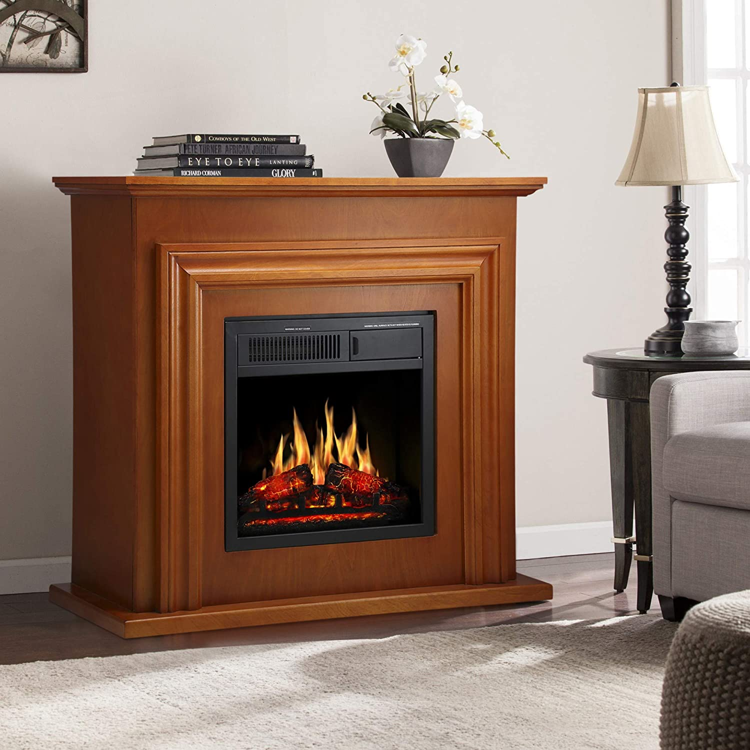 JAMFLY Wood Electric Fireplace Mantel Package Freestanding Heater Corner Firebox with Log Hearth, Remote Control, 750-1500W Birch Finish