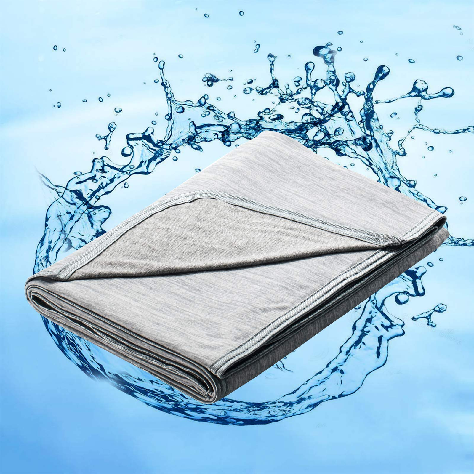 "Marchpower Summer Cooling Blanket, Latest Japanese Arc-Chill Q-MAX>0.43 Cooling Fiber - Lightweight Cold Blankets Absorb Heat for Hot Sleeper Night Sweats Sofa Bed Cozy Blanket (Gray Twin 79""x59"")"