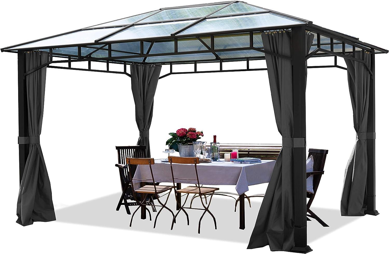 TOOLPORT Cenador de jardín 3x4m Impermeable ALU Deluxe Techo de policarbonato Pabellón 8mm Cenador 4 Lados Carpa Fiesta Gris 9x9cm Perfil