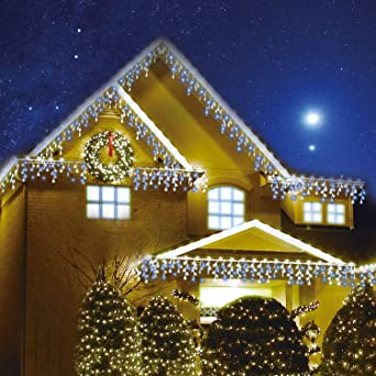 Sentik 240 Led Snowing Icicle Lights Ultra Bright Party Wedding Christmas Xmas Indoor And Outdoor Lights Blue White