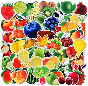 Fruits Vegetatbles Stickers 100 pcs for Laptops Water Bottles Toys and Gifts Cars Fridge, Food Cartoon Aesthetic Vinyl Decals for Teens, Girls, Housewife Waterproof (Fruits)