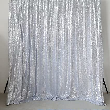 GFCC Backdrop Curtains Sequin Silver 10ft By Seamless Photography For Baby Shower