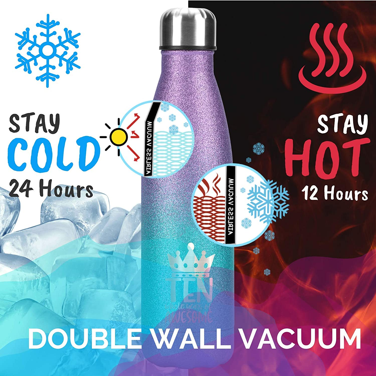 Best Gift for 10th Birthday 17oz//500ml Stainless Steel Insulated Water Bottle Birthday Gifts for 10 Year Old Girls Kids Children Glitter Water Bottle
