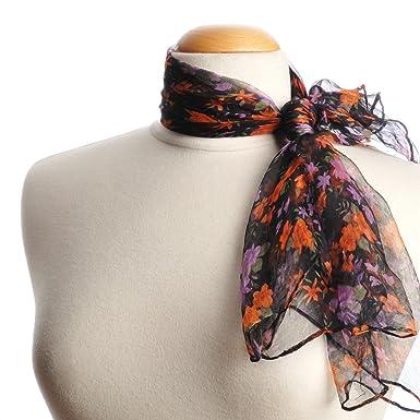 f3bb265df4e Foulard mousseline Petites fleurs violettes et orange  Amazon.fr ...