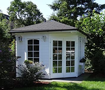 Alpholz - Casa de jardín de 5 esquinas, de madera maciza, con 44 ...