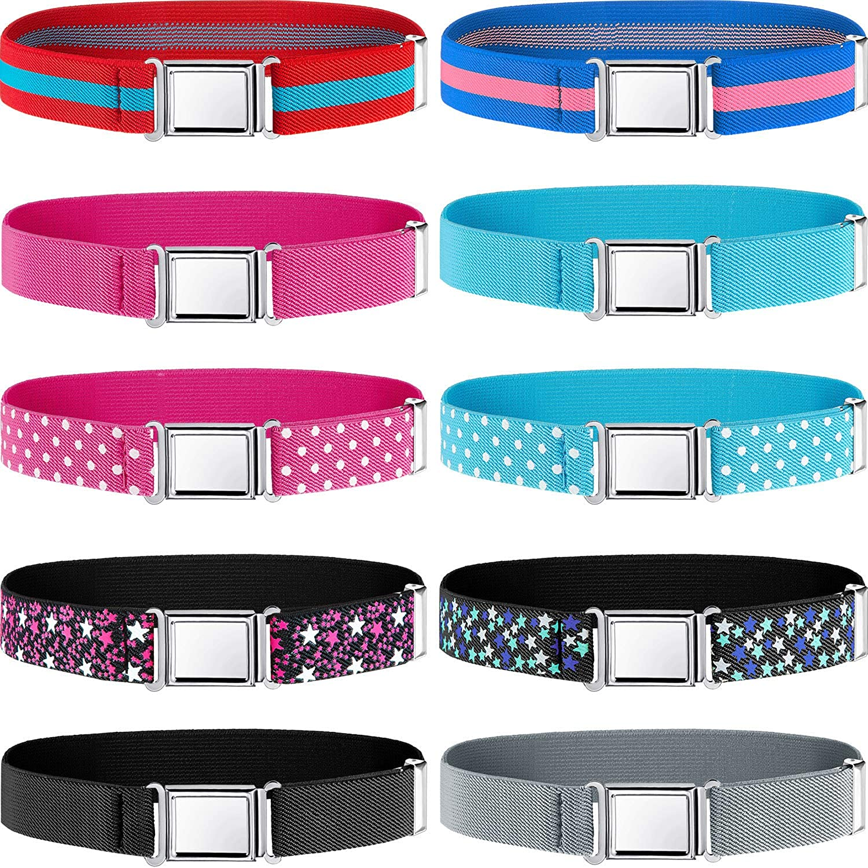 10 Pieces Kids Magnetic Belts Adjustable Buckle Clasp Elastic Easy Belts for Kid Boy Girl Toddler