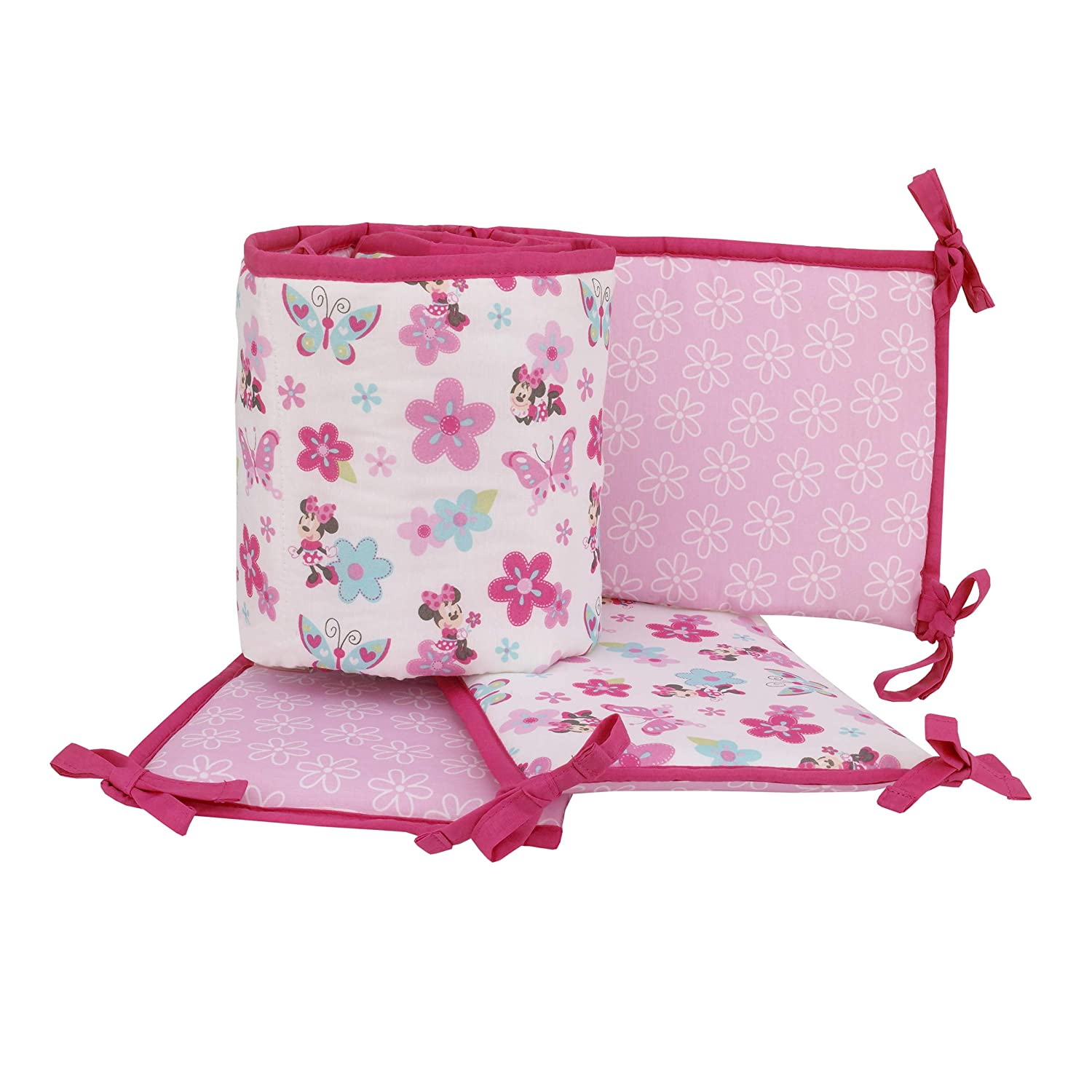 Disney's Minnie Mouse Portable Reversible Bumper Pad, 4 Piece Minnie and Pink Flowers Portable Pads, Minnie Pad, Protector de Cuna