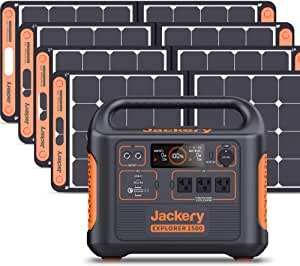 Jackery Solar Generator 1500, 1800W Explorer 1500 and SolarSaga 100W with 3x110V/2200W AC Outlets, Solar Mobile Lithium Battery Pack for Outdoor RV/Van Camping, Overlanding, Emergency