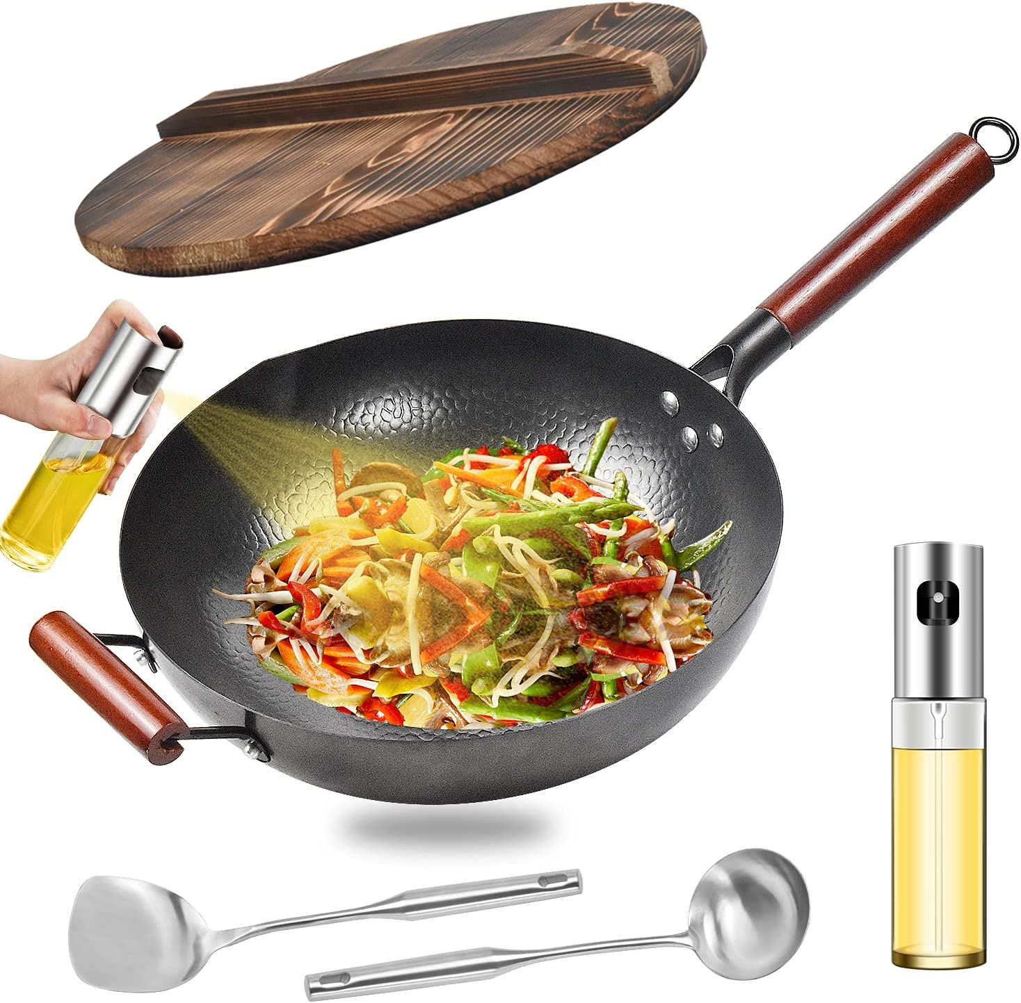 Carbon Steel Wok Pan, Chemical-free Woks and Stir Fry Pans with Lid & Oil Sprayer, Chinese Iron Pot with Wooden Handle, 12.6