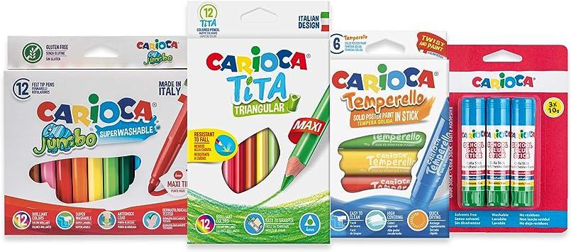 Carioca Set Vuelta AL Cole | Kit de Material Escolar: Rotuladores Super Lavables, Lápices de Colores, Témpera Sólida en Barra y Pegamento de Barra, 33 Unidades: Amazon.es: Juguetes y juegos