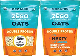 product image for ZEGO Double Protein Raw Oats, Organic, Purity Protocol Gluten Free, GIyphosate Free, 14oz Bags, Bundle of 2 Bags (28oz total)