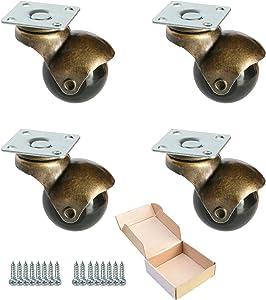 """MySit 1.5"""" Ball Caster Plate Caster Wheels (Pack of 4) for Sofa Furniture Hardwood Floor, Antique Gold(BallCaster_Plate40)"""