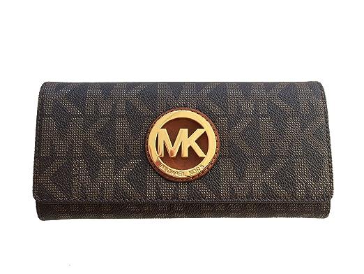 031687bfaafd ... order michael kors signature pvc fulton flap wallet in brown 19ed6 33471
