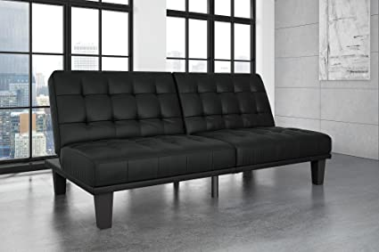 DHP Dexter Futon and Recliner Lounger, Multi-functional Sofa for Small Spaces, Black