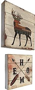 RAINBOW Farmhouse Home Arrow Deer Wood Wall Hanging Sign Plaque - Vintage Look - 2 Piece Set