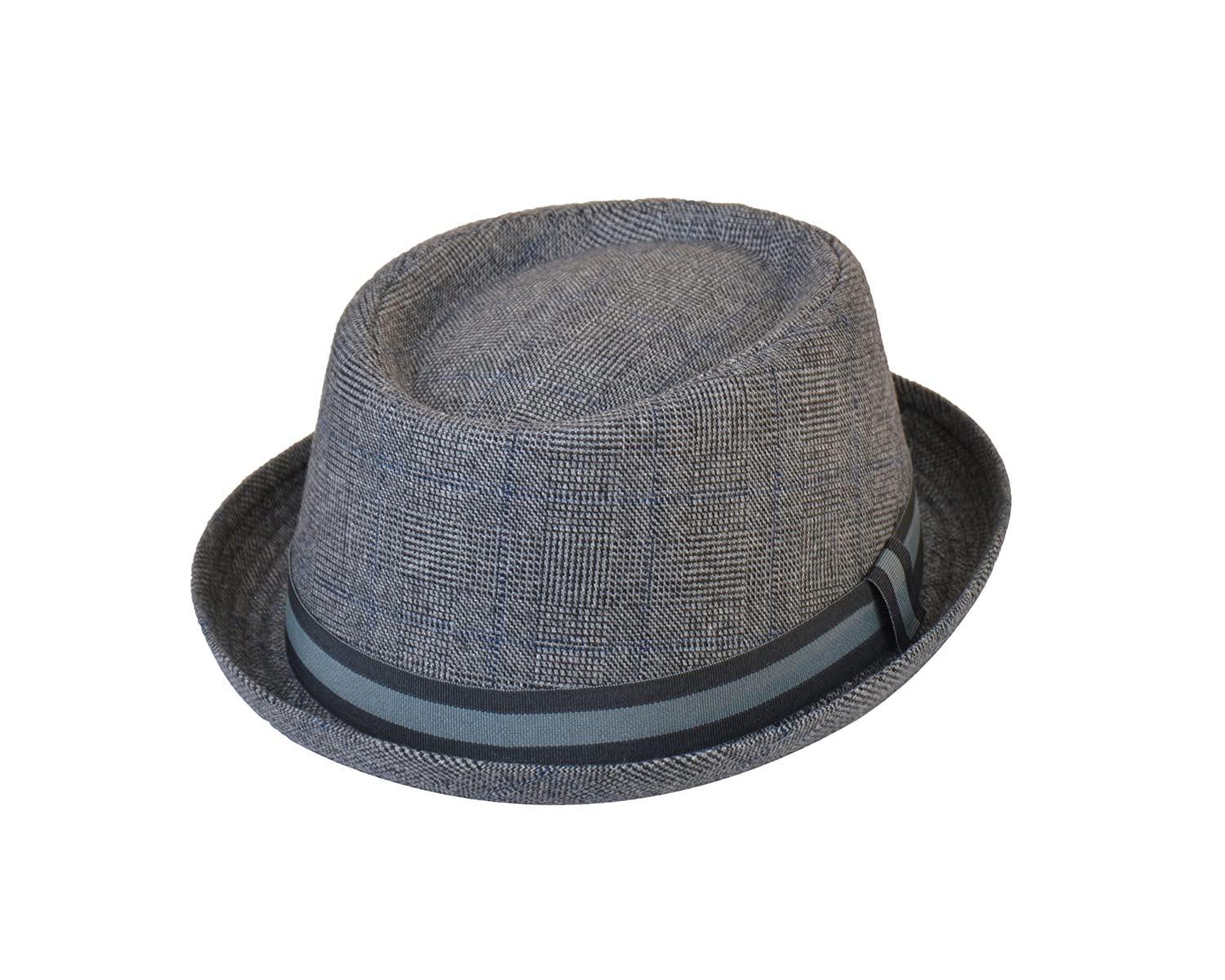 Adults Unisex Classic Tweed Pork Pie Hat in Grey/Blue, Medium/Large