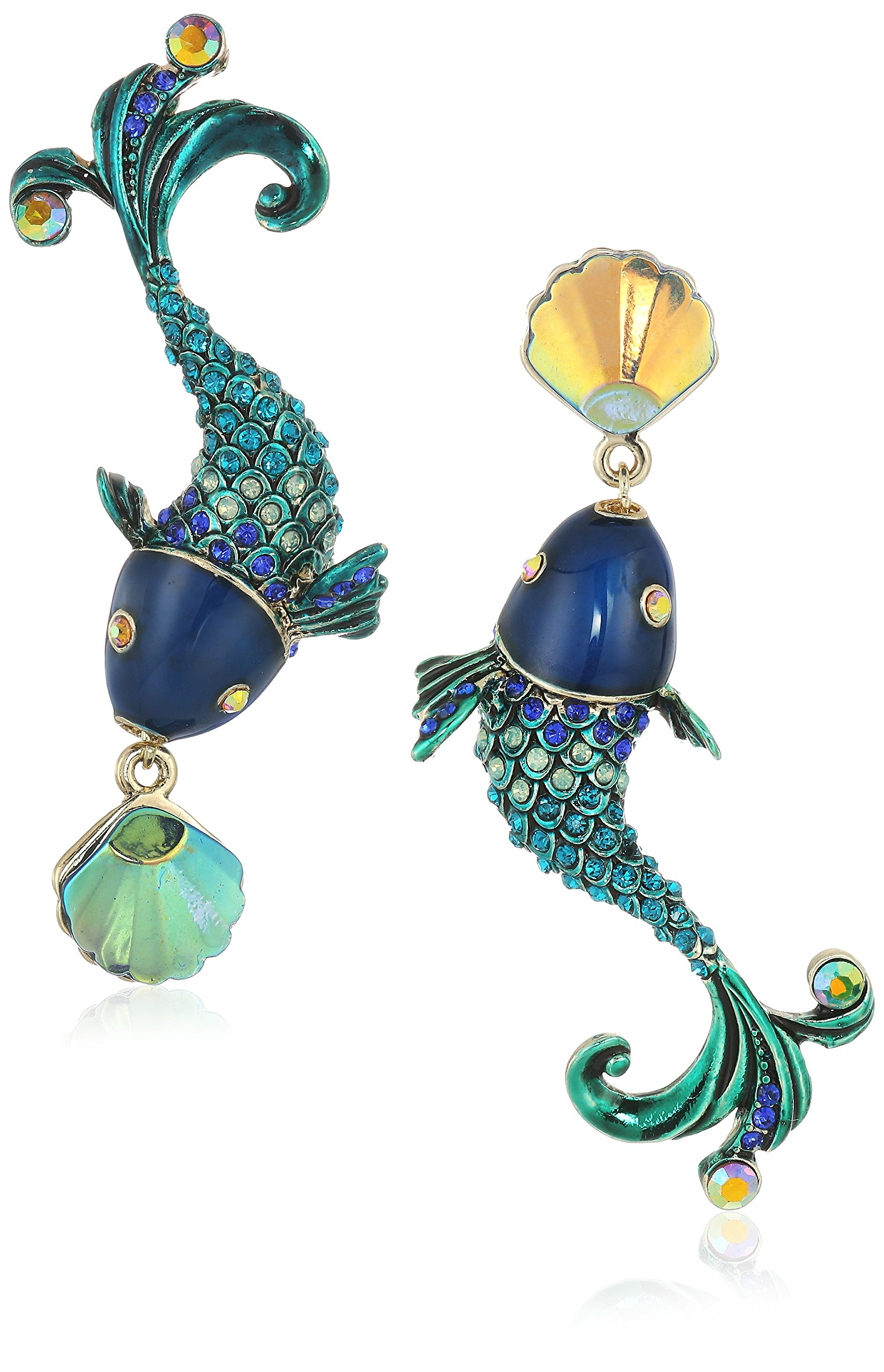 Betsey Johnson Women's Crabby Couture Colorful Fish Mismatch Drop Earrings, Green, One Size