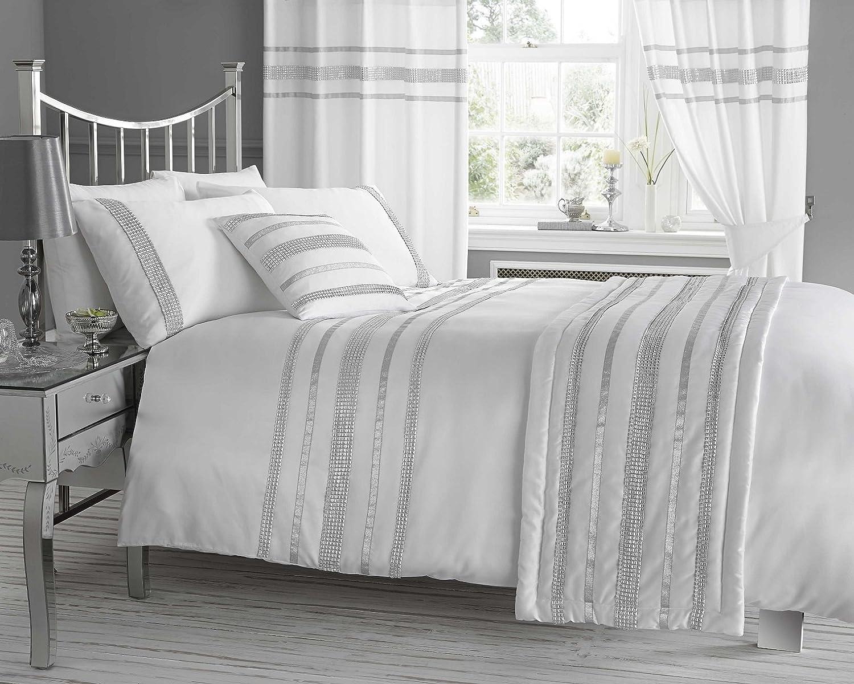 cheerful gray bedding. Amazon com  LUXURY DIAMANTE SUPER KING DUVET QUILT COVER BEDDING SET TIFFANY WHITE SILVER Home Kitchen