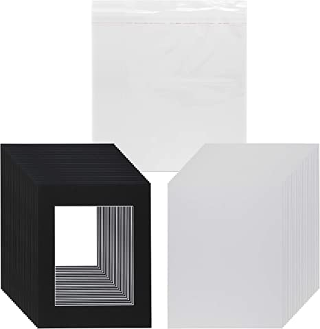 Bags Backing Pack of 25 11x14 WHITE Mats with White Core  for 8x10 Photo