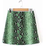 Try My Best Dress Women Skirts Pu Faux Leather Green Snake Print Skirts Button Pencil Female Mini Skirt Plus Size Jupe…