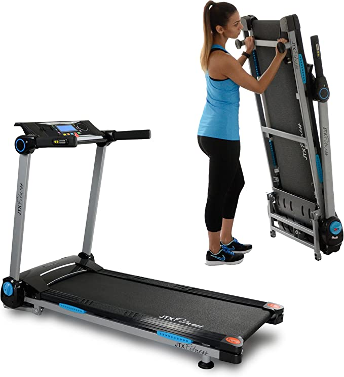 JTX Slim Line Flat Foldable Running Machine - Folding Treadmill - Compact, Electric, Motorised Exercise Machine with Digital Incline for the Home Gym - Fat Burning & Weight Loss Programs – Speakers