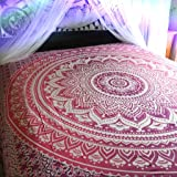 Indian Hippie Bohemian Psychedelic Ombre Mandala Wall hanging Tapestry Purple-Pink Twin Size Home Decor Tapestry