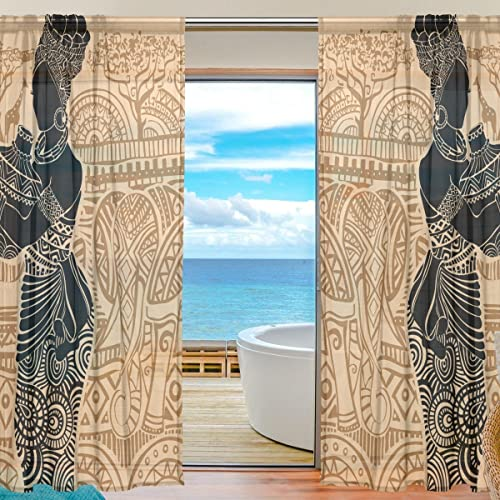 ALAZA Voile Sheer Window Curtain Beautiful African Woman Zoo Landscape Door Way Tulle Curtain Drapes Panels - a good cheap window curtain panel