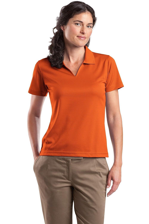 Bright Orange Sport-Tek Ladies Dri-Mesh V-Neck Polo Shirt