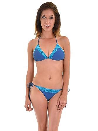 f4b642082e Plunge Junior's Blue Bikini Bright Blue Lace Trim 2 Piece Bathing Suit Set  Sizes: XS